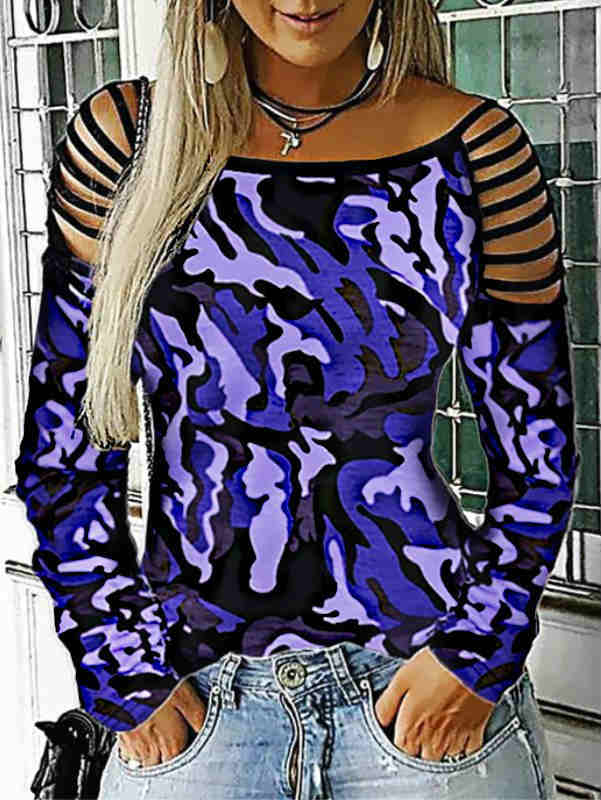 Strap Shoulder Leopard Print Camo Blouse Top