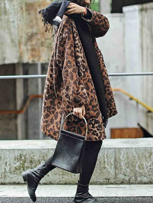 V-neck Loose Style Wool Leopard Print Cotton Coat