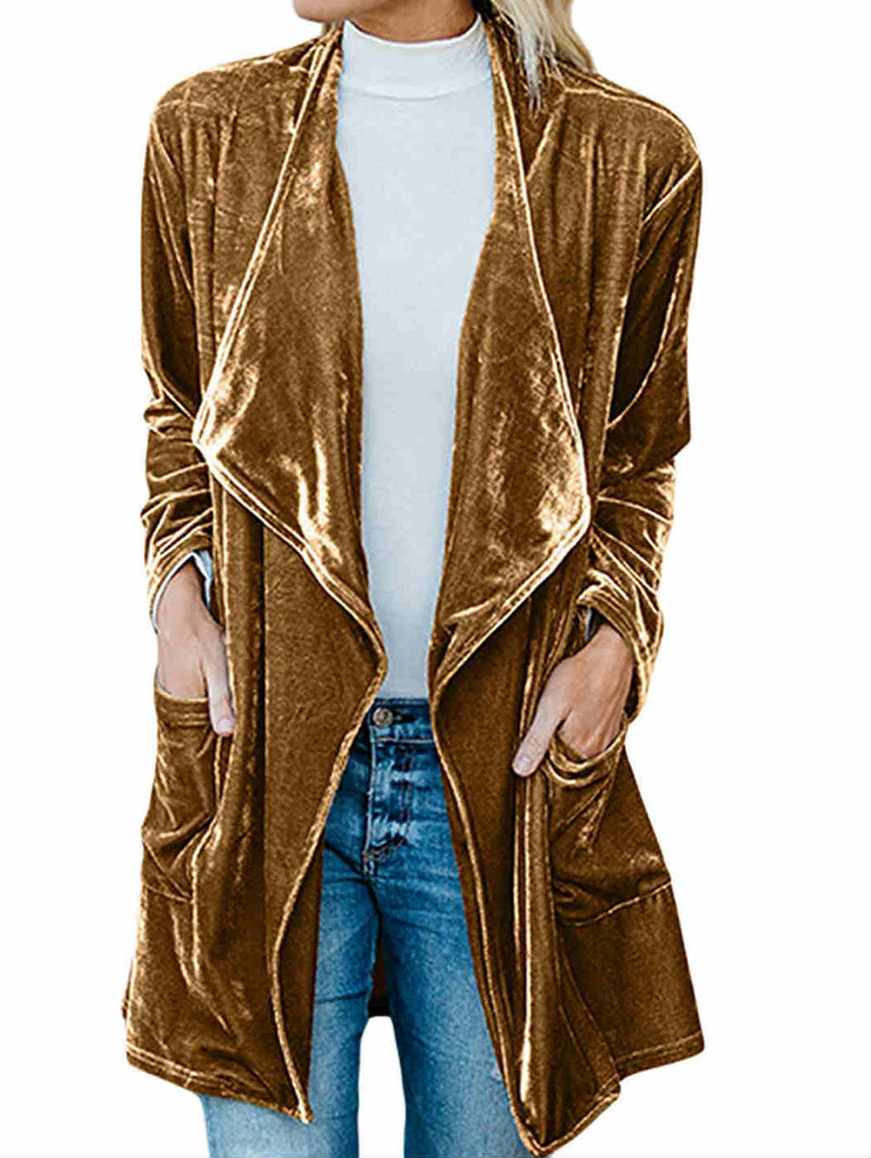Long Sleeve Velvet Cardigan Windbreaker Coat