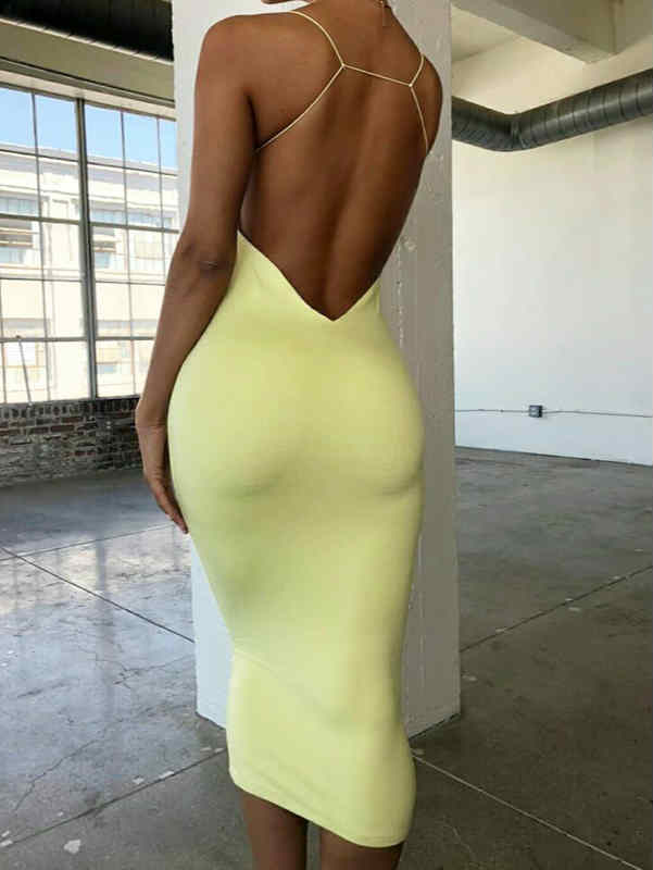 Spaghetti Straps High Waist Stretch Maxi Dress