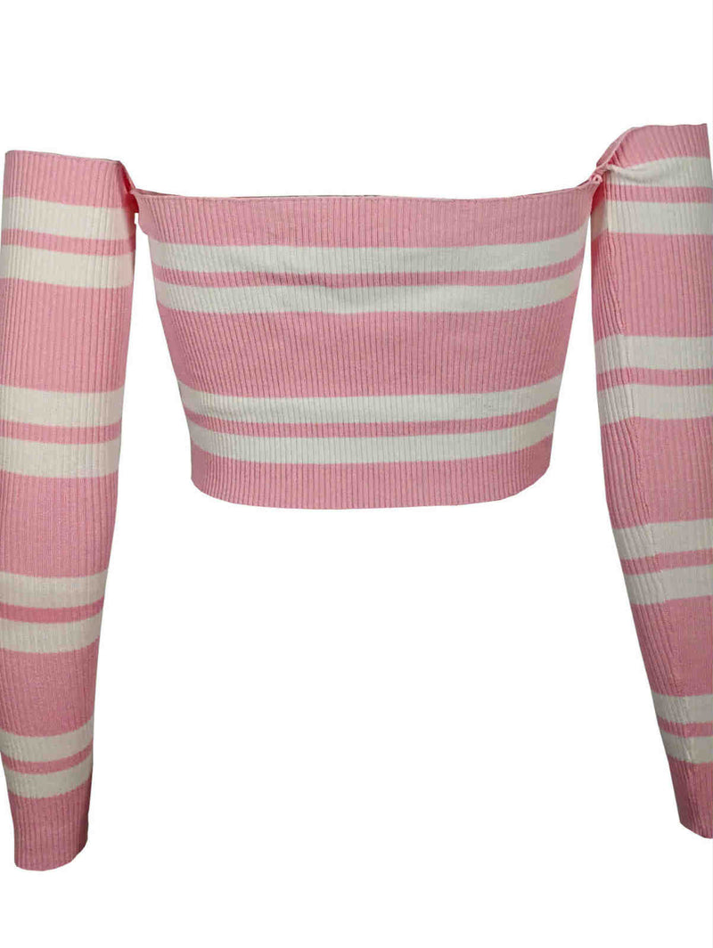 Long Sleeve Stripes Knitted Top
