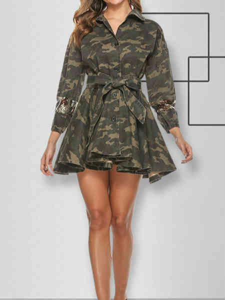 Fall and Winter Camo Slim Umbrella Skirt Lining Sequined Coat