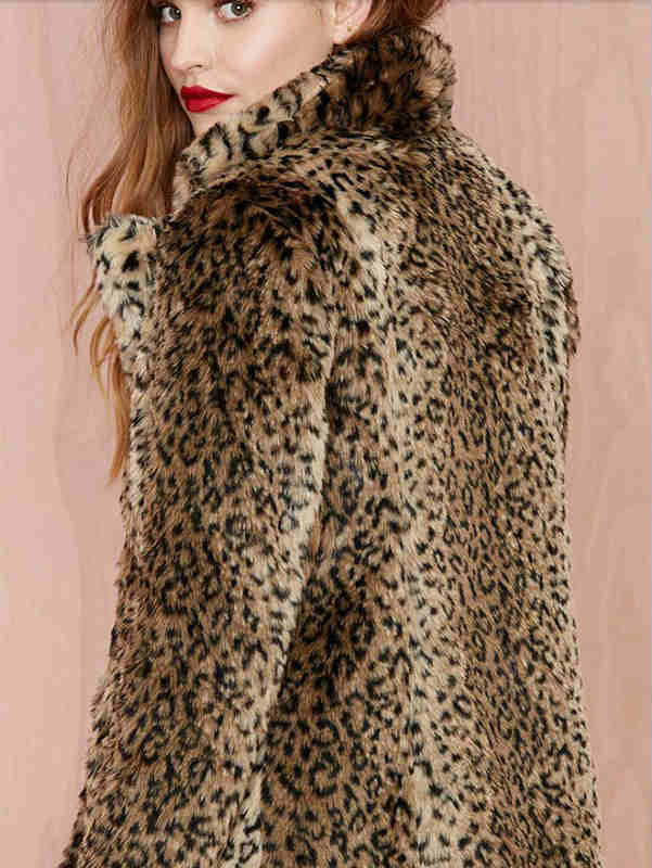 Stand Collar Leopard Print Faux Fur Coat