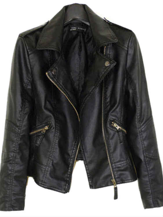 Fashion Fall and Winter Locomotive Leather Short Jacket
