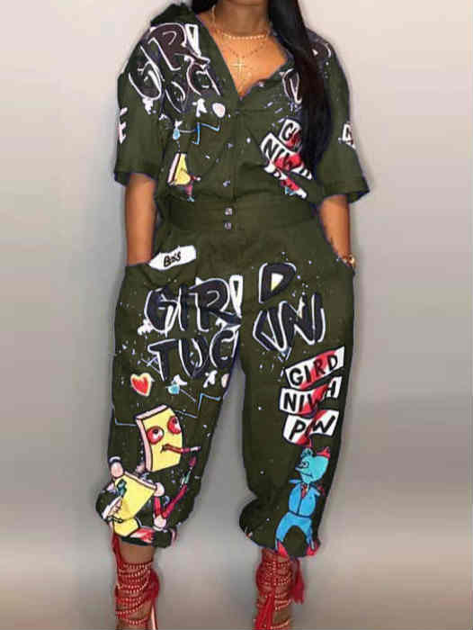 Sexy Letters Print Bell Trousers Jumpsuit
