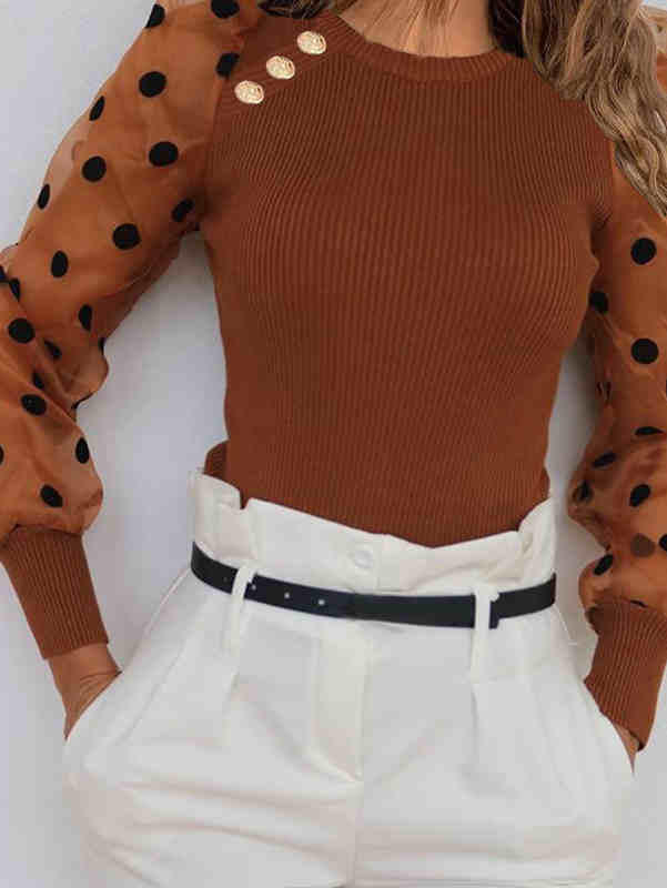 Mesh Puff Sleeve Dot Shirt