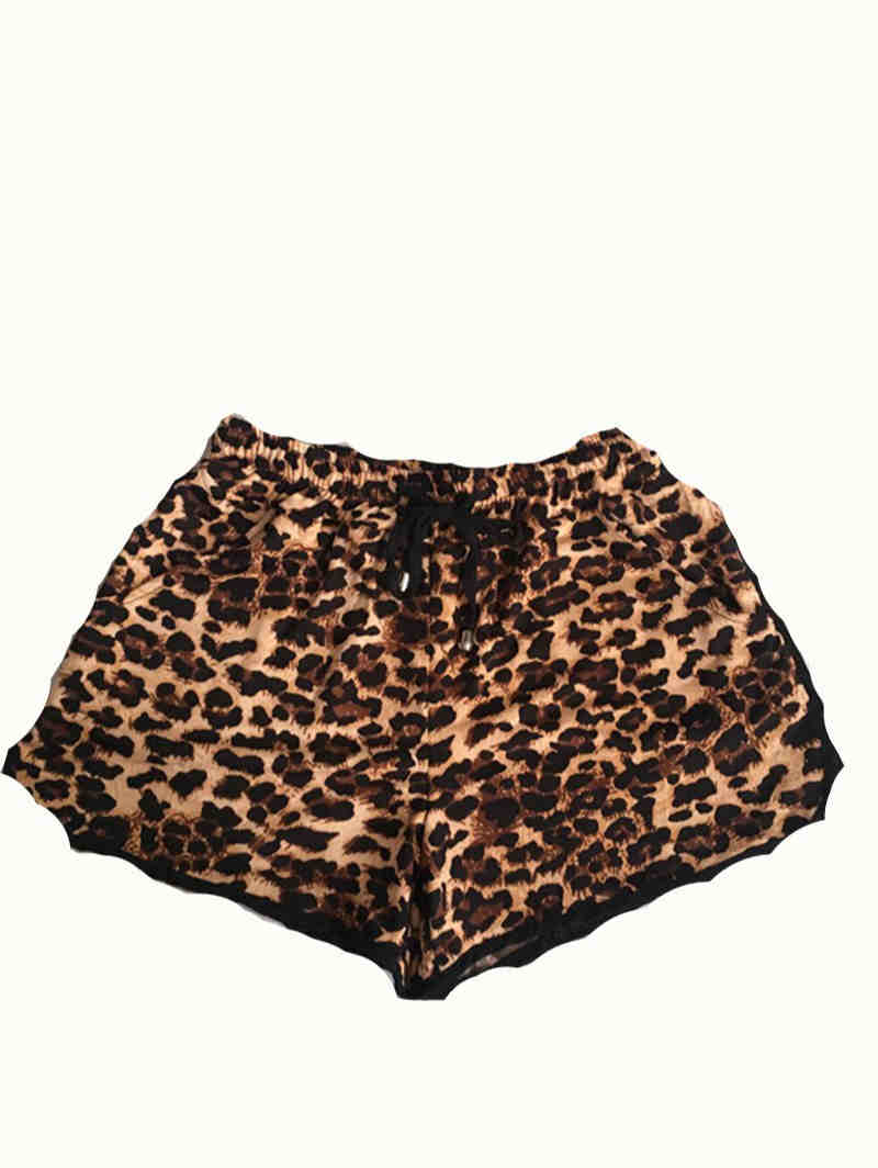 Adjustable with Rope Leopard Print Shorts