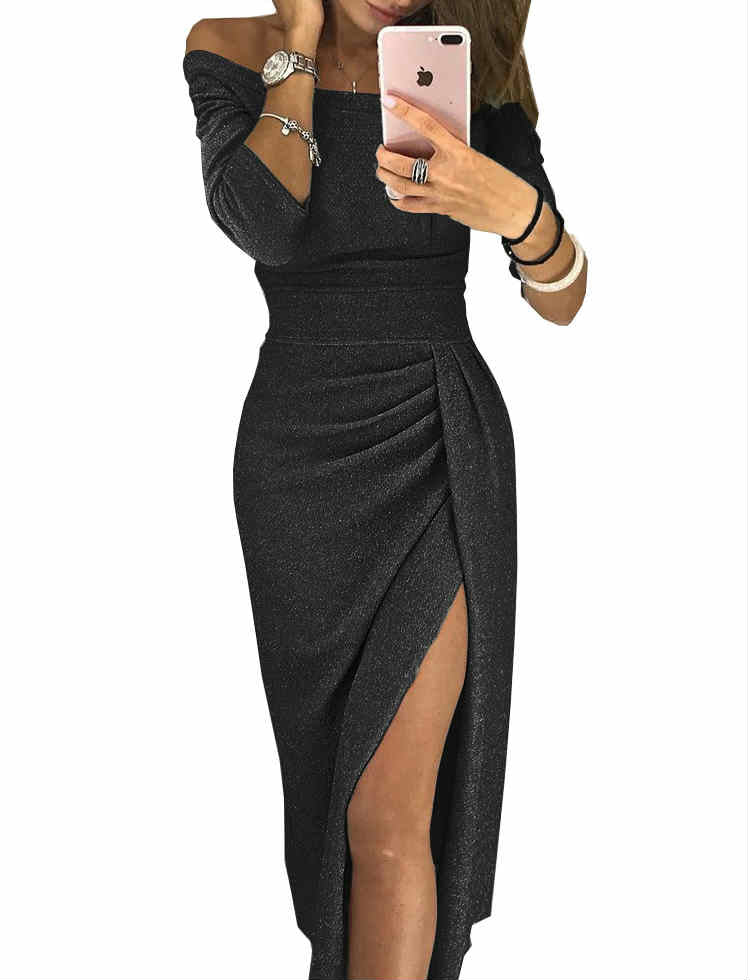 Off Shoulder Bright Slit Prom Evening Party Midi Dress