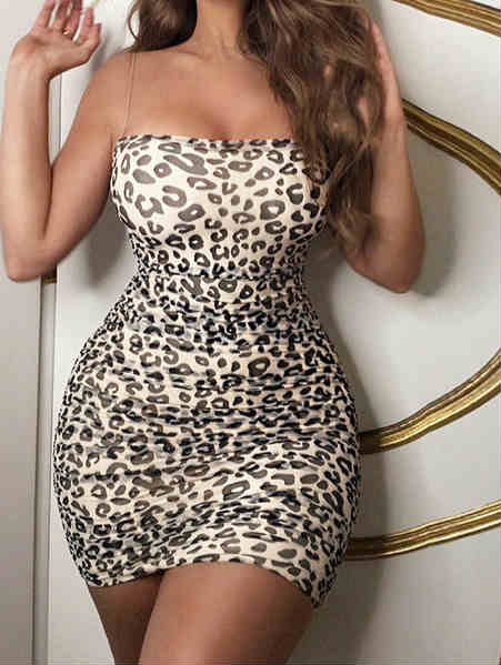 Spaghetti Straps Mesh Leopard Print Mini Dress