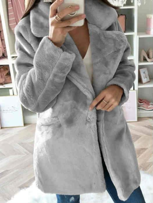 Fall and Winter Pure Color Loose Faux Fur Coat