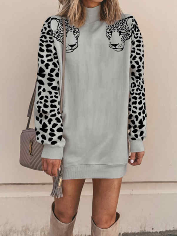 Leopard Print High-Necked Sweatershirt