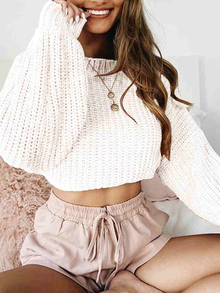 Long Sleeve Round Neck Fall & Winter Loose Sweater Crop Top