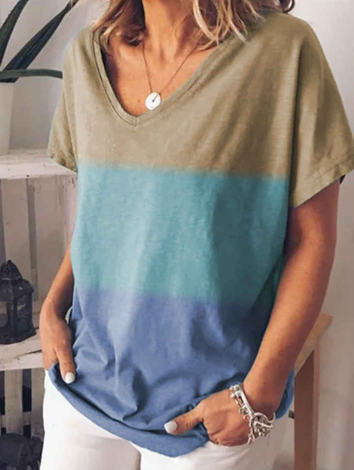 V-neck Gradient Contrast Print T-shirt Top
