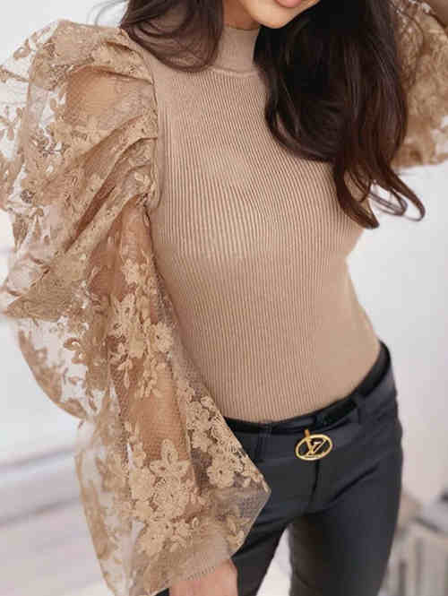 Lace Mesh Flower Embroidered Stitching Top