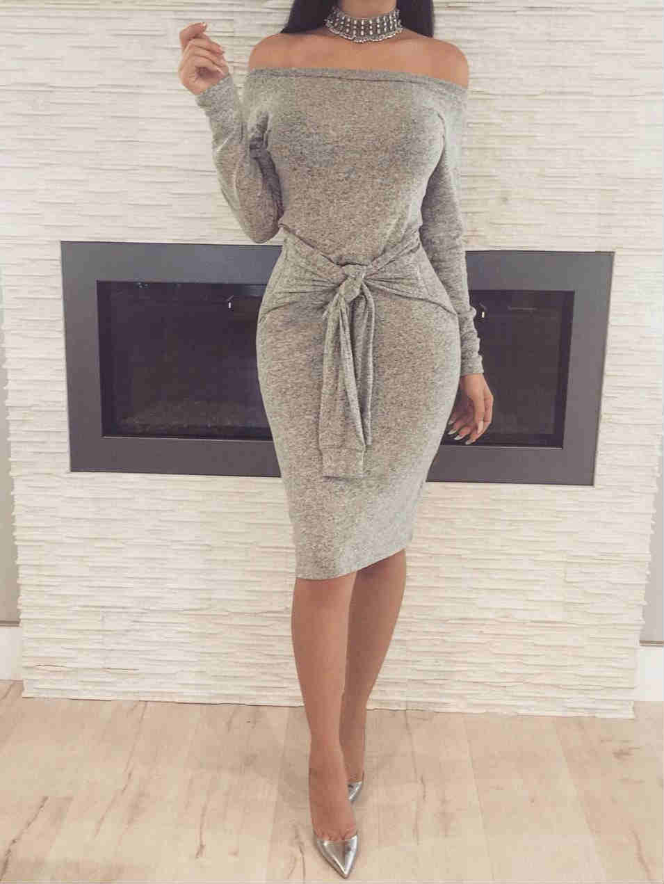 Long Sleeve Off Shoulder Tied Waist Midi Dress