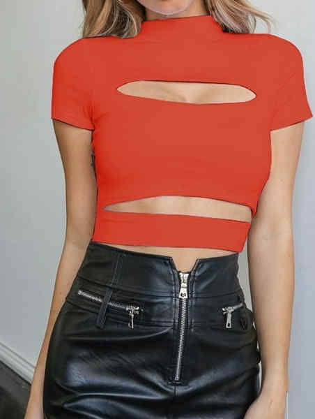 Mid High Collar Cut Out Special Top