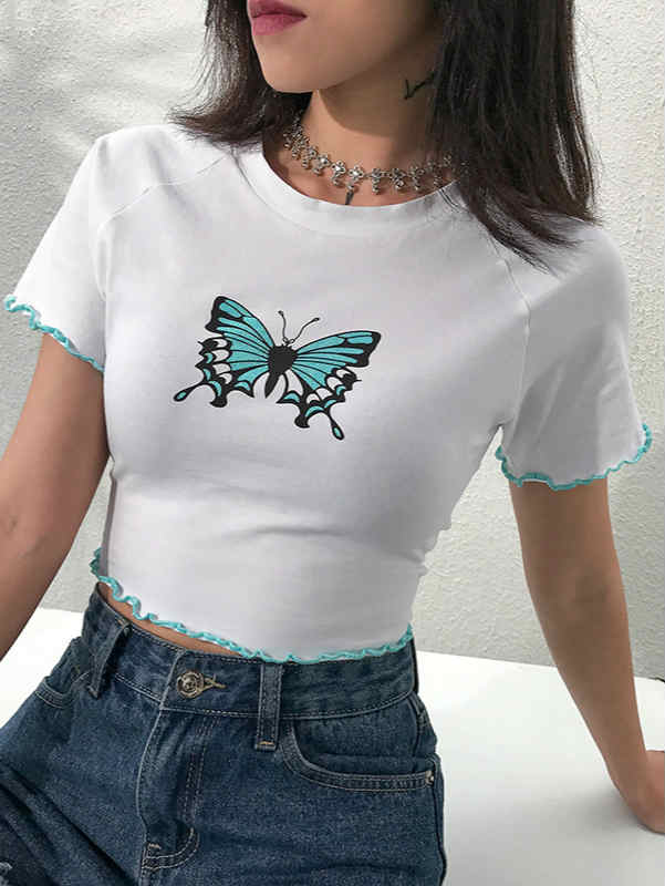 Butterfly Print Crop Top