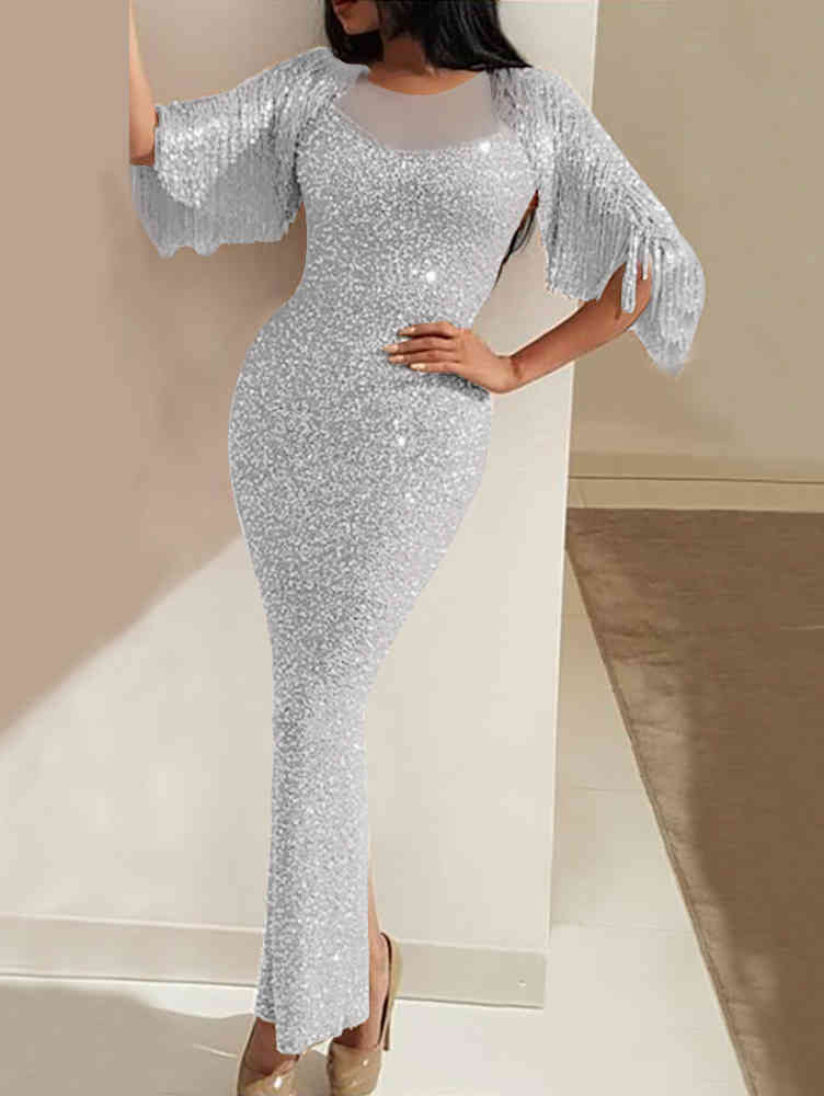 Fringed Sequin Bling Slit Prom Evening Maxi Dress