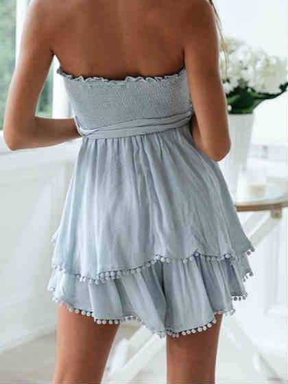Tied Waist Off Shoulder Tiered Mini Dress