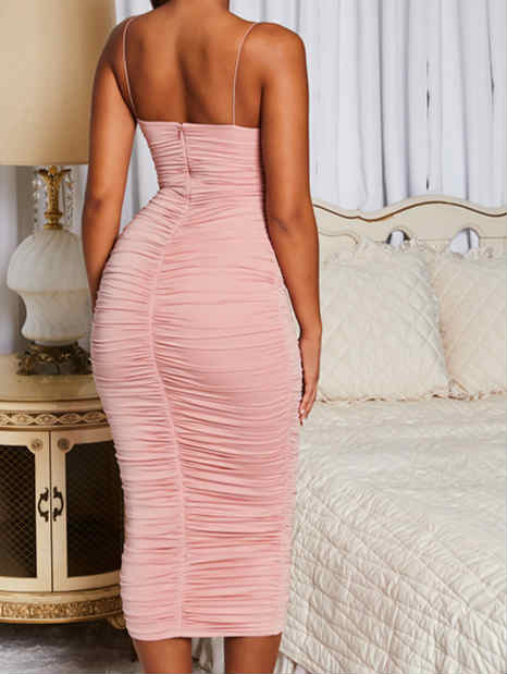 Spaghetti Straps Stretch Maxi Dress