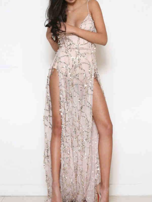Deep V-Neck Sequin Slit Maxi Dress