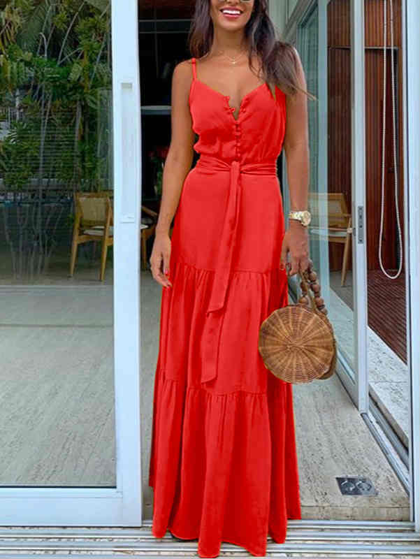 V-neck Button Tie Waist Maxi Dress