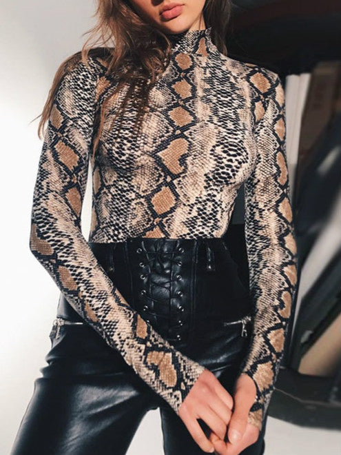 Snake Skin Pattern Long Sleeve Bodysuit