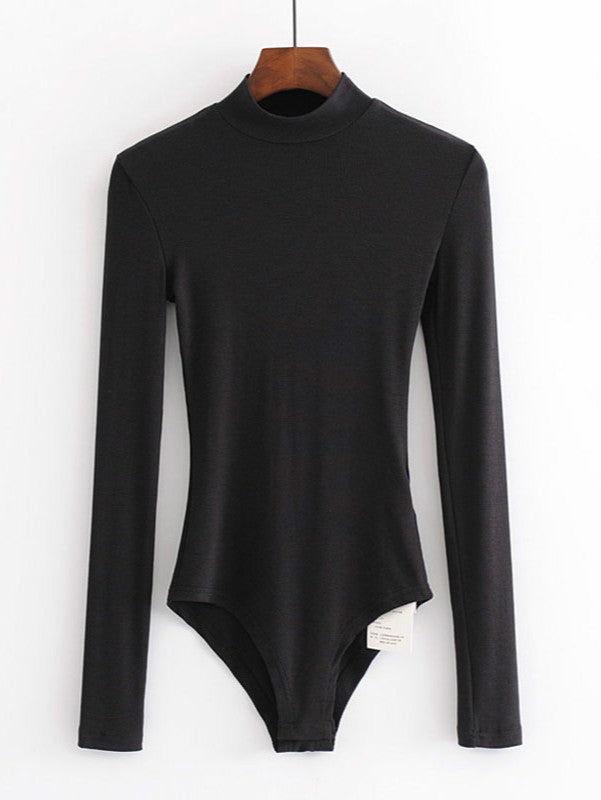 High Neck Solid Bodysuit