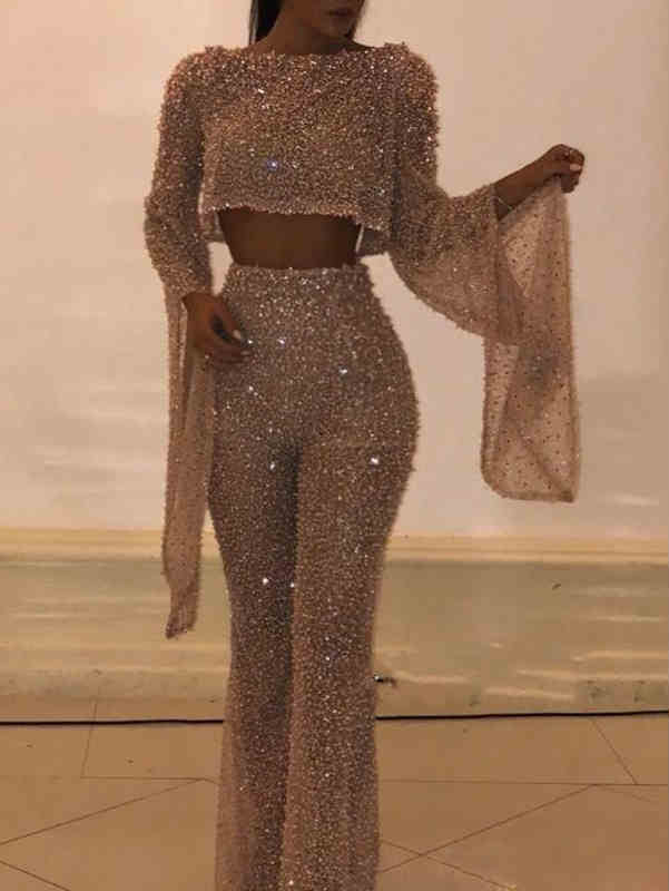 Round Neck Bat Sleeve Sequin Crop Top & Straight-Leg Jumpsuit