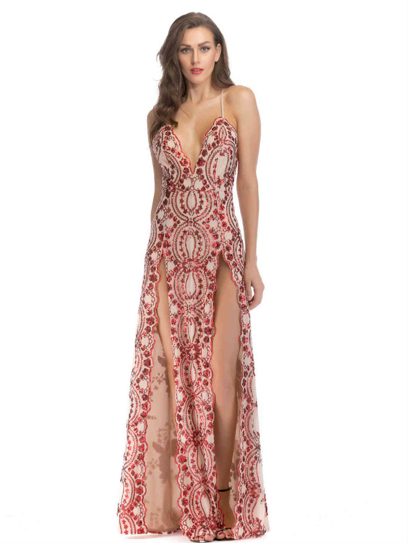 V-neck Sequin Slit Maxi Dress