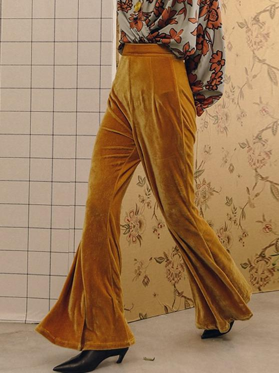 Velvet High Waist Flared Pants