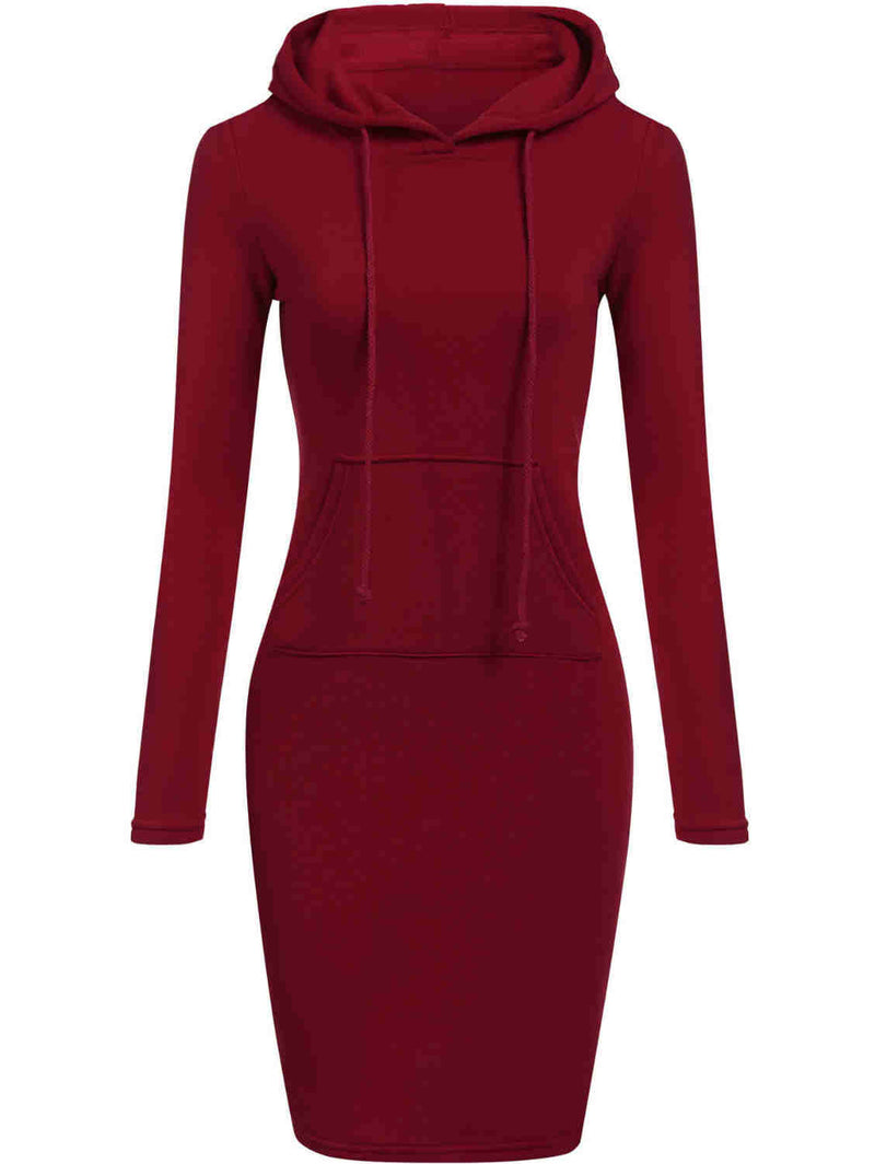 Long Sleeve High Waists Basic Hoodies Midi Dress