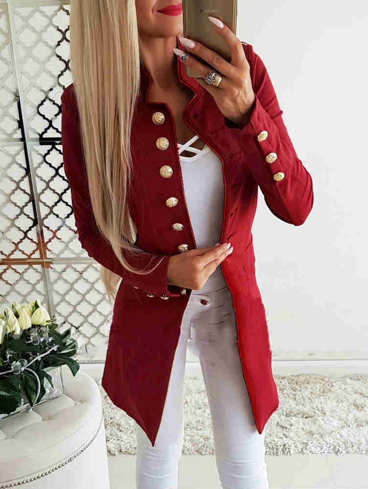 Long Sleeve Button Decor Suit Jacket