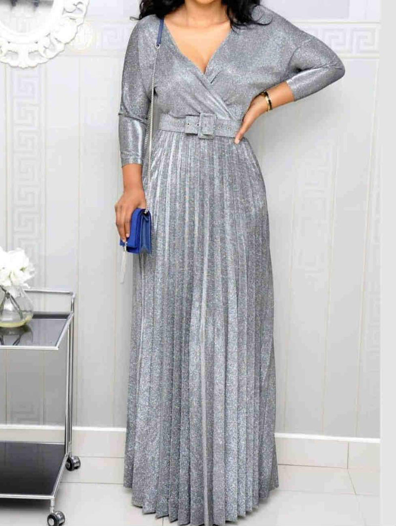 Mid Sleeve V-Neck With Belt Plus Size Maxi Dress