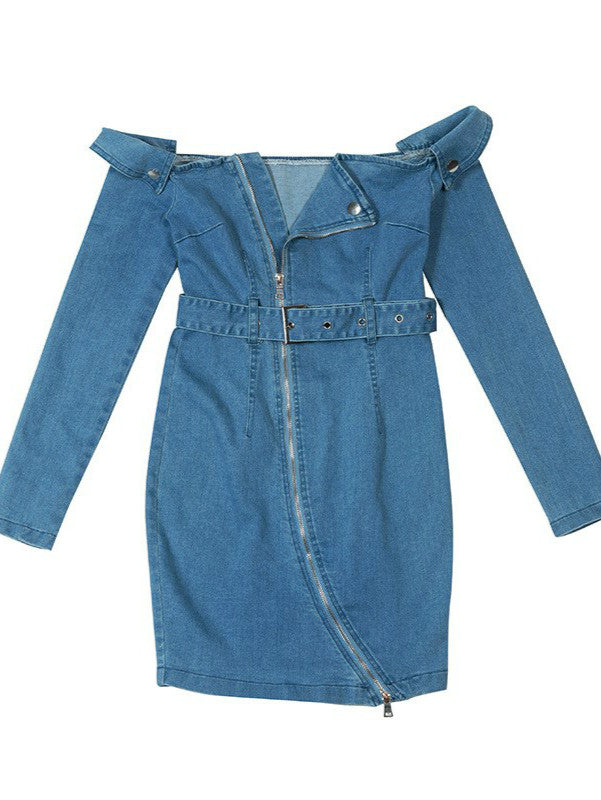 Off Shoulder Jeans Mini Dress
