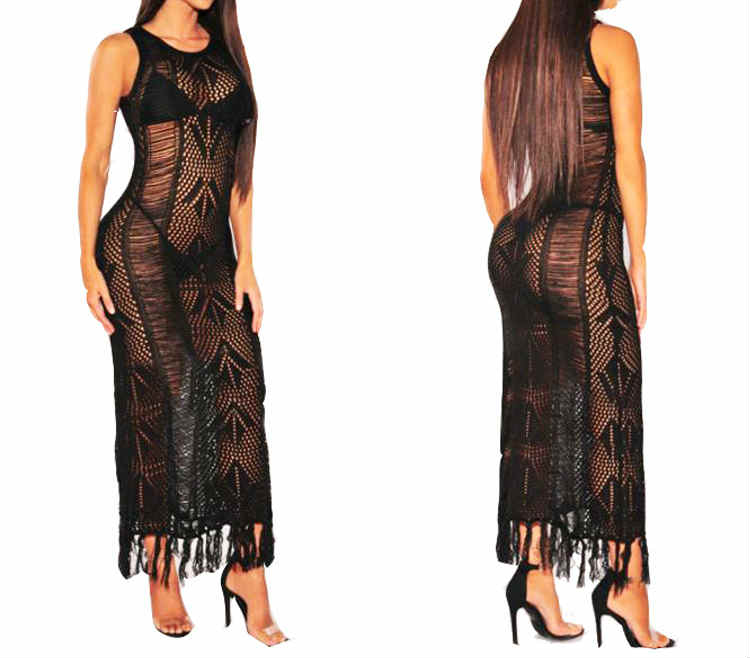Round Neck Knit With Tassels See Through Beach Maxi Dress