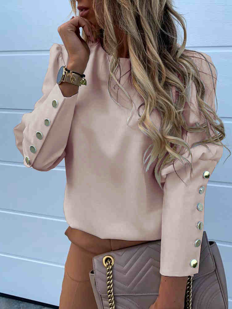 Solid Color Rivet Buttons Shirt Blouse Top