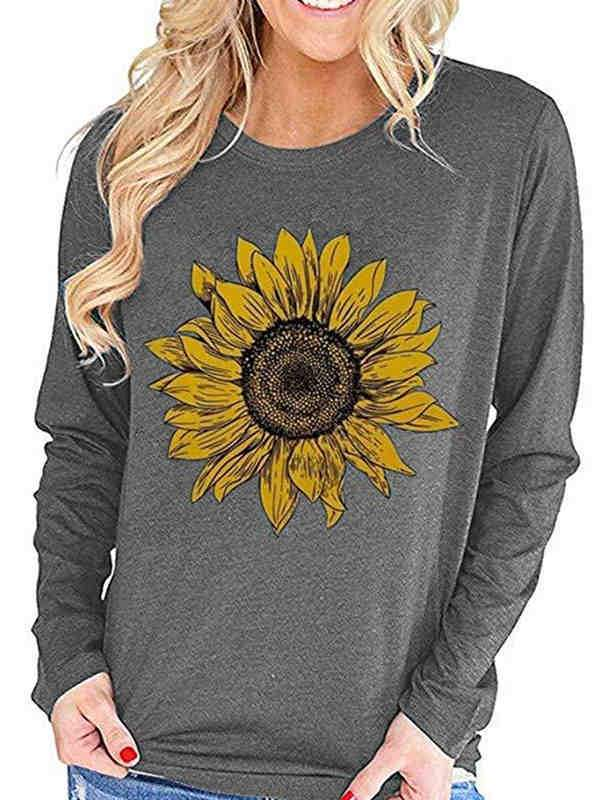 Long Sleeve Sunflower Print Casual T-shirt