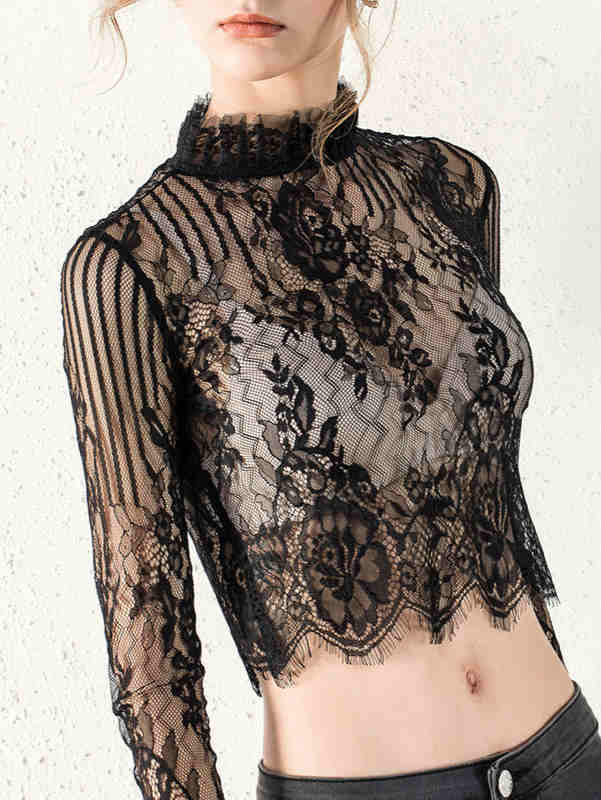 Stand Collar Mesh Lace See Through Crop Top