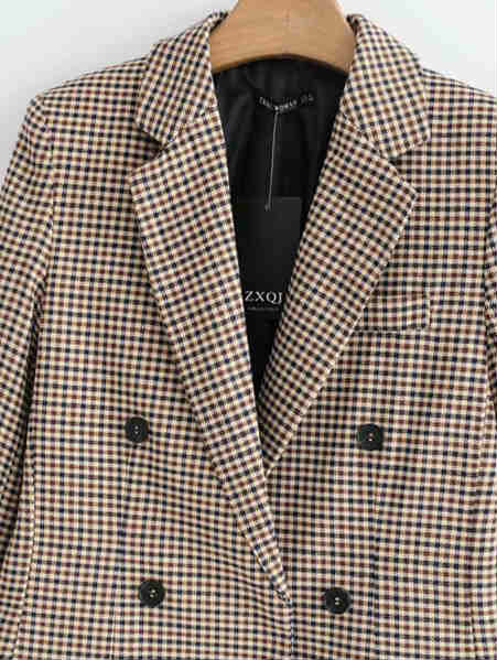 Turndown Collar Plaid Suit Coat