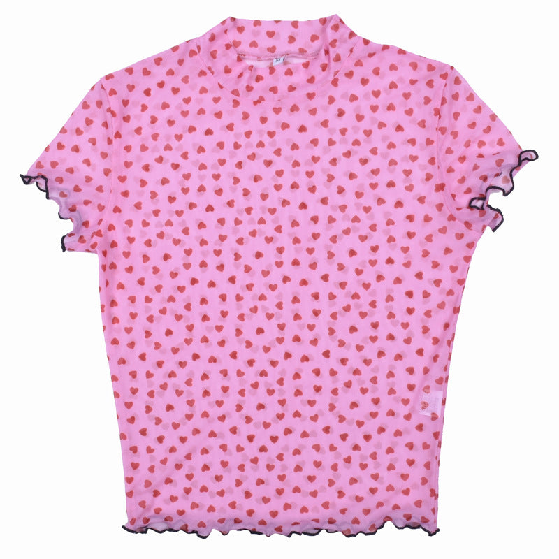 Mesh Pink Red Heart Print T-shirt