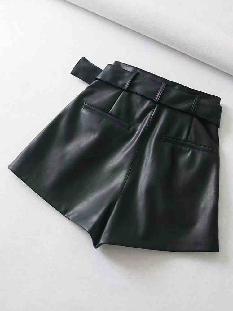 High Waist Leather Bermuda with Belt Shorts