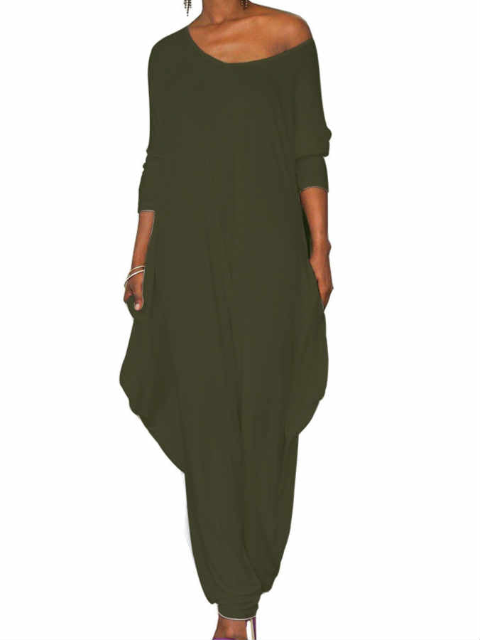 Round Neck Long Sleeve Go Out Loose Jumpsuit