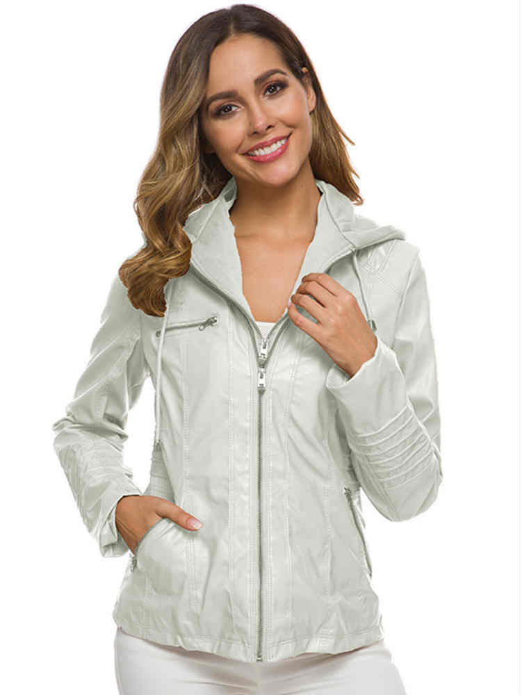 Zipper Adjustable and Removable Hood PU Coat and Jacket