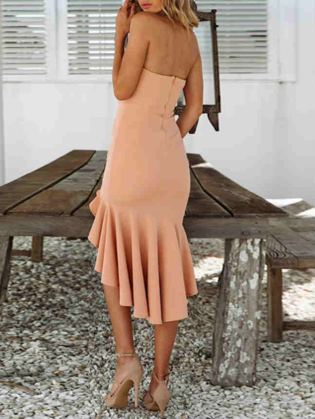 Tied Waist Side Slit Wave Maxi Dress