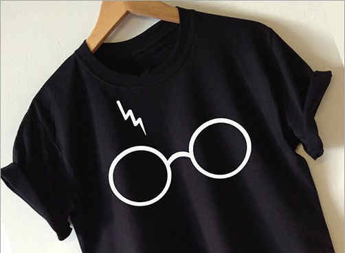 Round Neck Loose Glasses Print T-shirt