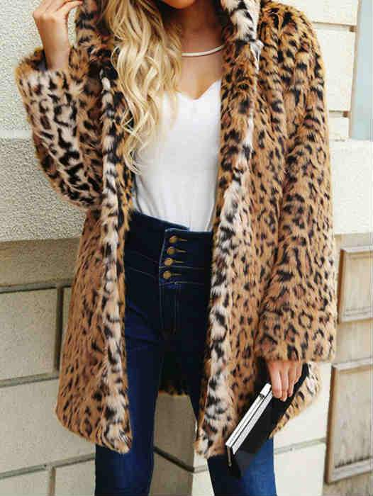Fall and Winter Leopard Print Hoodies Faux Fur Coat