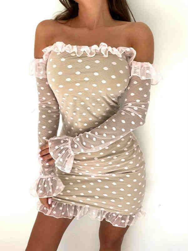 Off Shoulder Polka Dot Lace Mesh Midi Dress