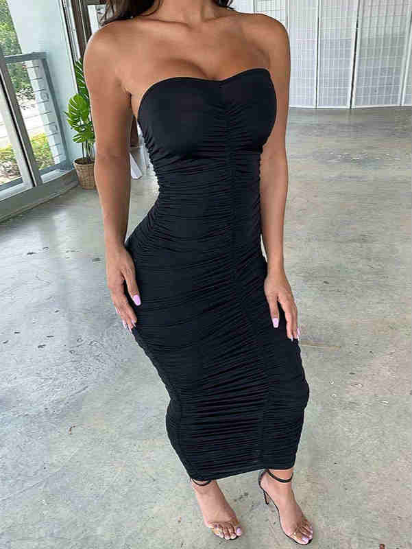 High Waist Ruffle Sleeveless Tube Maxi Dress