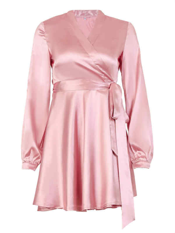 V-neck Tied Waist Satin Mini Dress